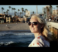 Blonde Ambition (Ocean Air Imagery) Tags: ocean venice trees smiling pier palm blonde shelby dimples aviators sunnset lawoman blondeambition windinherhair oceanairimagery