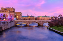 Winter sunset in Stockholm (tseyin) Tags: stockholm sweden longexposure city colours colourful color europe winter water river sunset travel scandinavia nordic