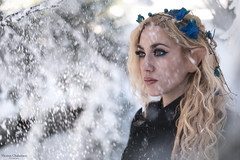 Elf photoshooting in mountain (couvanos) Tags: elf photo photographer photography photoshooting photoshoot photooftheday photos photograph parnitha mountain mountains greek greece woman eyes beautiful beauty art make up nikon capture snow snowing natural tree blonde pic picoftheday athens cold weather february