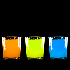 Thirsty for Diversity...? (lowbattery) Tags: 3 glass contrast photoshop three colours juice diversity popart thirsty colorphotoaward