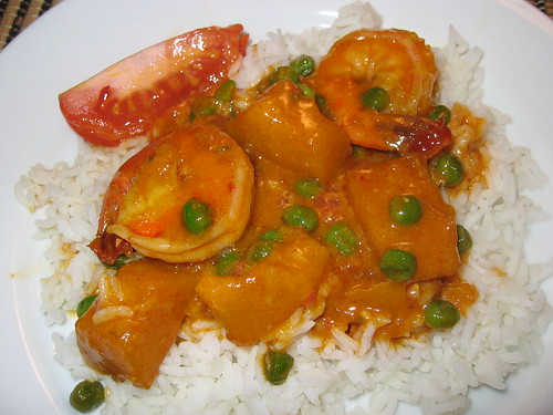 Red Curry with Shrimp and Kabochap