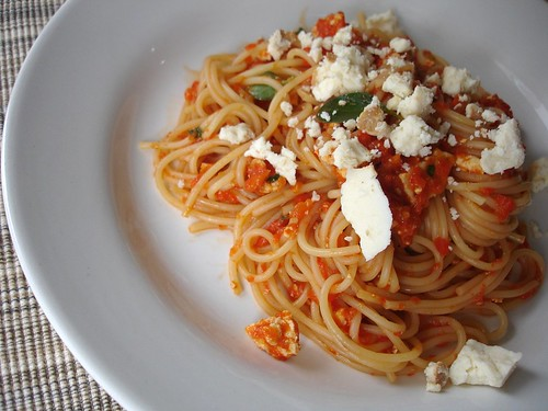 Spaghetti with basil, smoked ricotta and roast bell pepper