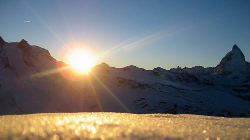 Matterhorn vom Gornergrat bei Zermatt im Kanton Wallis in der Schweiz