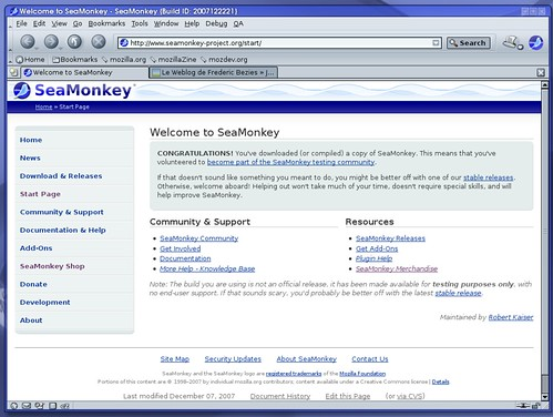 Seamonkey avec le thème modern