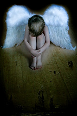 Heaven must be missing an angel (CorinneDelis1) Tags: boy white texture angel wings heaven child darkness creative son angelic sorrow creativechild lightbeing removedfromadobelightroomfortags