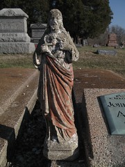 Made's Jesus & John :) (mereshadow) Tags: orange cemetery statue john concrete illinois heart jesus sacred left leaning hillsboro mades
