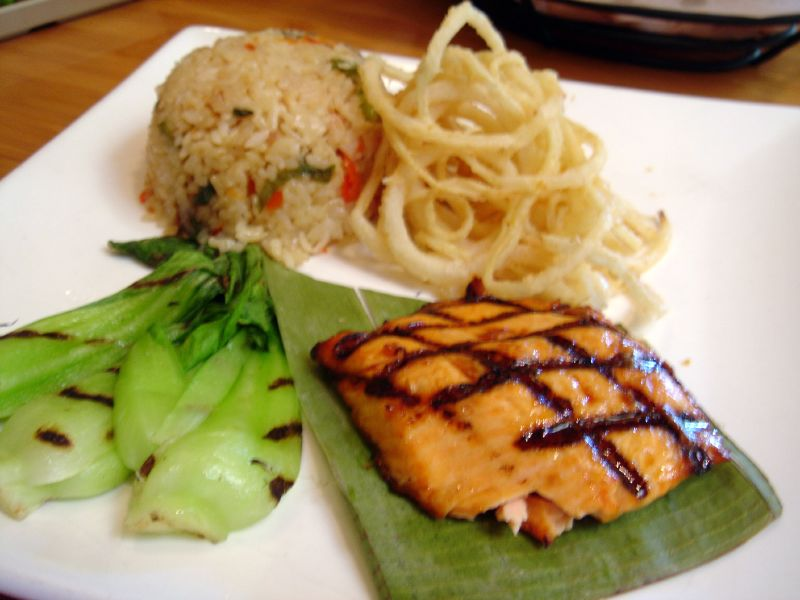BC Coho salmon with Maui Onion, Grilled Bok Choy and Pineapple Fried Rice