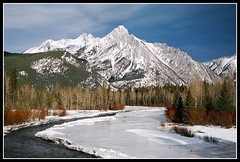 Mount Lorette and the Kananaskis River, Alberta (danrsnyder) Tags: winter snow canada mountains ice water river kananaskis nikon country f65 mount alberta valley picnik lorette dansnyder danrsnyder