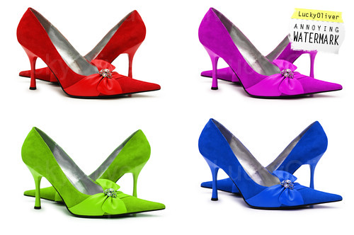 Woman shoes of four different colors isolated on white by clenoros.