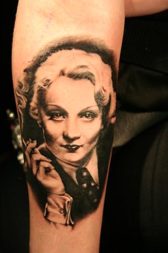 tattoo portrait Marlene Dietrich by Mirek vel Stotker