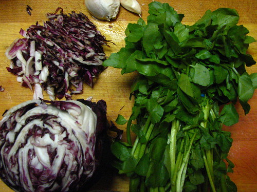 Ingredients for Watercress and Ricotta Ravioli with Radicchio Butter Sauce
