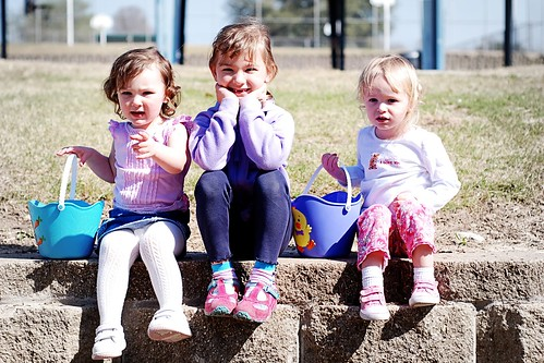three little easter egg hunters