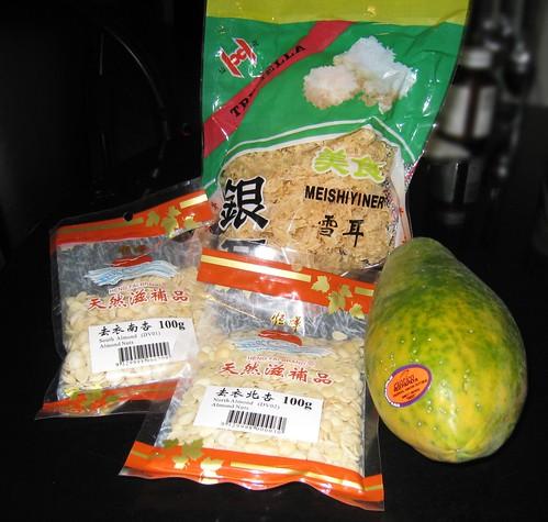 雪耳南北杏紅木瓜湯材料