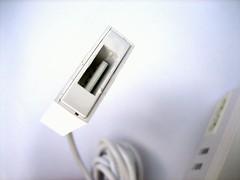 In deze usb-poort steek je het verloopstukje voor de iPod.