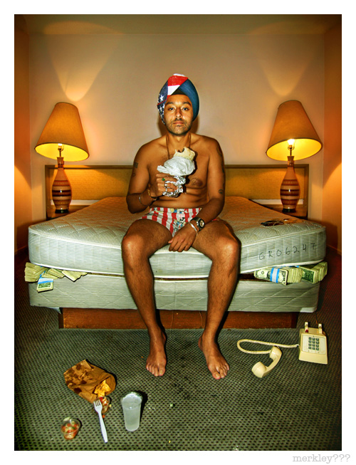 Vikram Chatwal - Half Billionaire Former Playboy Sikh Hotelier Takes No Calls While Enjoying a Burrito & Ice Cold L.A. Tap Water in Borrowed Mickey Mouse Boxers & Patriotic Turban on a Filthy Dollar Concealing Mattress in Room 111 of The Hollywood Premier