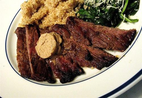 skirt steak, spinach, kasha