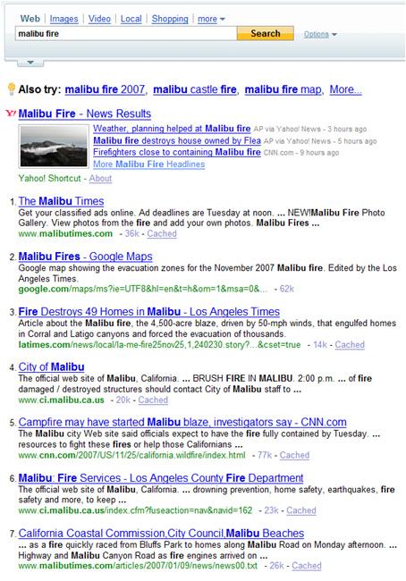 Yahoo & Malibu Fires