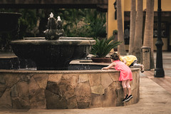 curiosity (JimfromCanada) Tags: overcome child children kid girl tourist friend fountain fish look curios vacation holiday vintage hurdle wall childhood sweet adorable will climb peer curious magicmoment moment magical