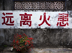 - Think Fire Saftey (Michael Steverson) Tags: china flowers red white flower wall writing canon island fire chinese pot chinadigitaltimes 5d characters hainan markii villlage saftey ef2470mmf28l nanqiangvillage