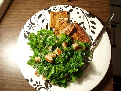 Broiled Tofu with Tuscan Kale Salad