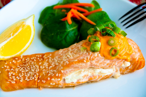 Stuffed Salmon with Sriracha Cream Sauce