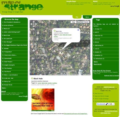 MapOfStrange.com - Strange things in Google Maps