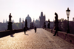 Prague (Peter Gutierrez) Tags: street old city morning bridge shadow urban tower film public contrast sunrise river dawn early town photo europe european republic shadows czech prague pavement gothic charles medieval sidewalk peter most age gutierrez middle baroque eastern ages vltava karluv karlv 10faves petergutierrez