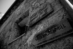 Olive Oil Mill Sign, Bagnoregio (jkpolsar) Tags: wood old italy food texture sign culture stucco