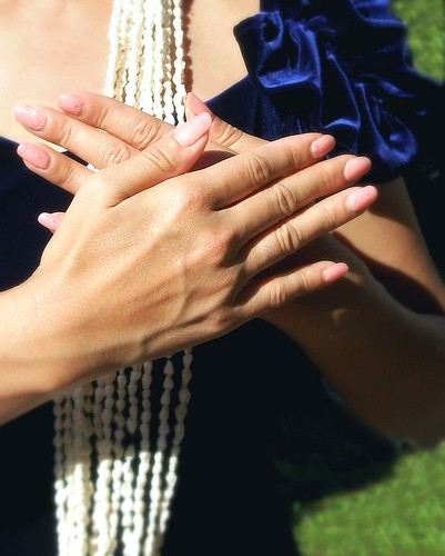 Hula dancer's hands -- hula dancer nailpolish elegant necklace nail shell hand polish hands