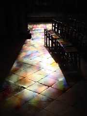 Saint Germain des Pres, Paris Nov 2007 (R. O. Flinn) Tags: light paris france church shadows chairs stainedglass saintgermaindespres