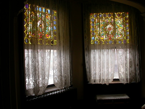 Stained glass windows in the bedroom