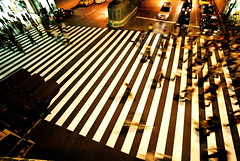 the crossing (troutfactory) Tags: street city urban motion blur film night view angle stripes voigtlander crowd rangefinder wideangle  pedestrians  osaka analogue crosswalk 15mm bessal nihon umeda heliar