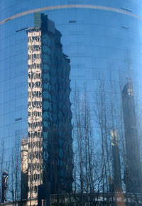 Towers dominate downtown's streetscape.