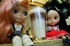 final product! (Cherry + Mika) Tags: kitchen coffee milk doll steam help espresso blythe latte mika barista ll roslin mrb