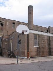 Chimney and hoops (Ray in New Orleans) Tags: katrina neworleans stroch ninthward squanderedheritage johnashawelementaryschool