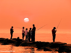 Fishing at Sunset, Connecticut (Jeff Wignall) Tags: sunset orange fishing nikon fishermen connecticut telephoto longislandsound wignall madisonconnecticut wowiekazowie
