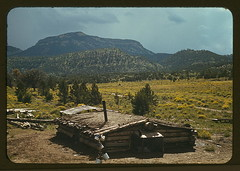 Dugout house of Faro Caudill, homesteader with Mt. Allegro in the background, Pie Town, New Mexico  (LOC) (The Library of Congress) Tags: house cabin hills logcabin libraryofcongress dugout prarie sodroof xmlns:dc=httppurlorgdcelements11 dc:identifier=httphdllocgovlocpnpfsac1a34150