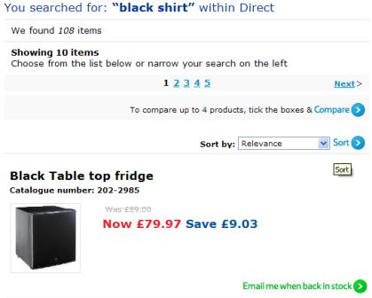 Tesco site search
