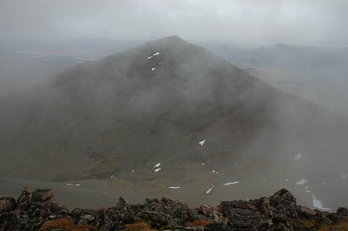 Meall a' Bhuiridh viewed through the mist from Criese