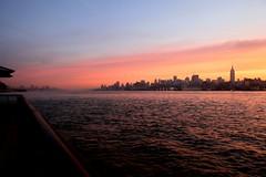 (pmarella) Tags: park nyc newyorkcity morning sky urban usa newyork color nature water skyline clouds sunrise fence reflections river landscape haze manhattan nj 5d viewlarge pmarella hudsonriver empirestatebuilding hoboken ef2470mmf28lusm donttrythisathome hudsoncounty amomentintime eos5d throughmyglasseye riverviewpkproductions myeyeshaveseenthis