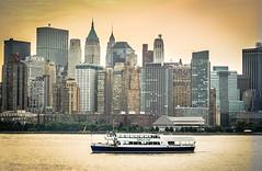 Circle Line Ferry New York Manhattan Skyline in the morning (mbell1975) Tags: new york nyc newyorkcity orange newyork ferry skyline sunrise river circle manhattan line newyorkskyline hudson circleline manhatten