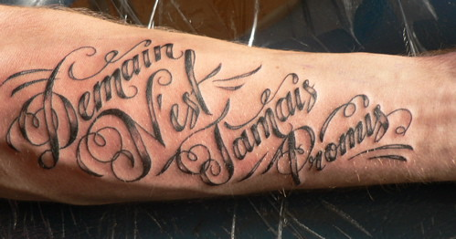 French Script Tattoo by ouchiscool