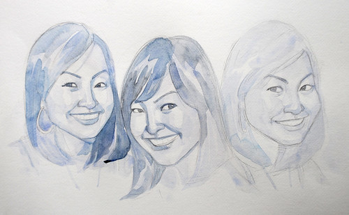 Portraits of a lady in watercolour - progress 1
