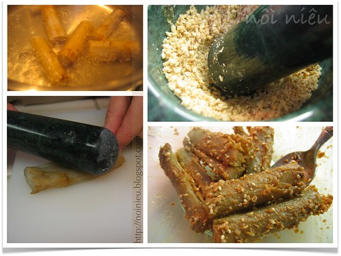 Boiled Gobo (Burdock root) with sesame seeds and soy sauce