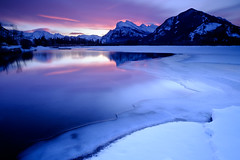 Another Vermilion Lakes Sunrise (Chambers.photo) Tags: littlestopper sunrise vermillionlakes banff banffnationalpark mountrundle landscape winter gradnd solidnd time formations weather typeofphotography snow seasons morning water objects equipment ice alberta canada location 3stophardgrad lake mountain