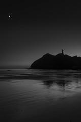 256 Shades of Dawn (dave.fergy) Tags: landscape dawn monochrome dark on1pics seascape lighthouse black white calm moon
