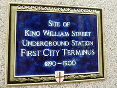 Photo of King William Street Underground Station blue plaque