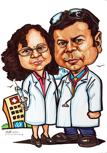 doctor caricatures in colour