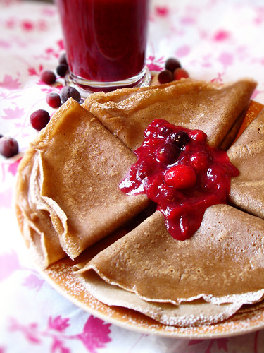Chocolate Crepes with Cranberry Sauce