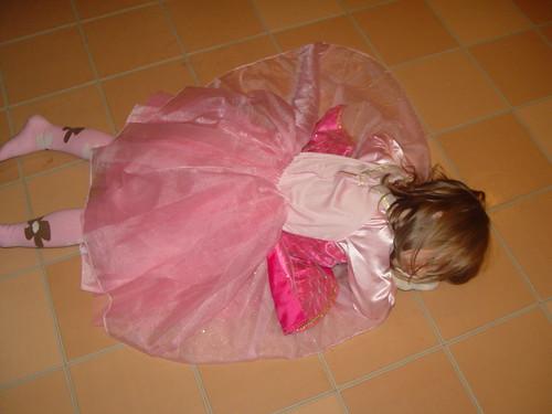 Asleep on the kitchen floor. TIme? 6:49 p.m.